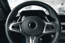 Steering Wheel Of A New Luxury Car