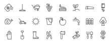 Garden Outline Vector Icons Isolated On White. Gardening Icon Set For Web And Ui Design, Mobile Apps And Print Products
