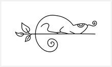 Doodle Chameleon On Branch Isolated On White. Hand Drawn Line Art. Sketch Vector Stock Illustration. EPS 10