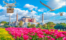 Technological Shipment Innovation - Drone Fast Delivery Concept . Hagia Sophia Museum, In Eminonu, Istanbul, Turkey