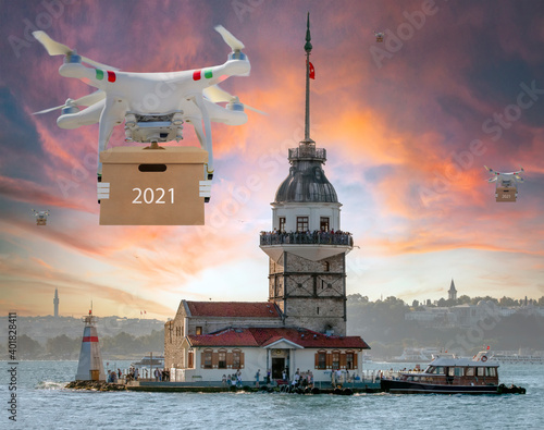 Technological shipment innovation - drone fast delivery concept Fotobehang