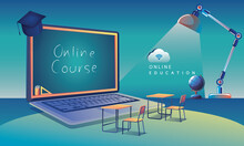 Online Education Application Learning Worldwide On Laptop, Website Background. Social Distance Concept Book Lecture Pencil. The Classroom Training Course, Library Vector Illustration Flat Design