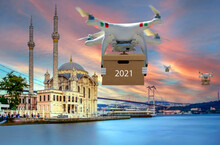 Technological Shipment Innovation - Drone Fast Delivery Concept. Ortakoy Mosque And Bosphorus Bridge, Istanbul, Turkey