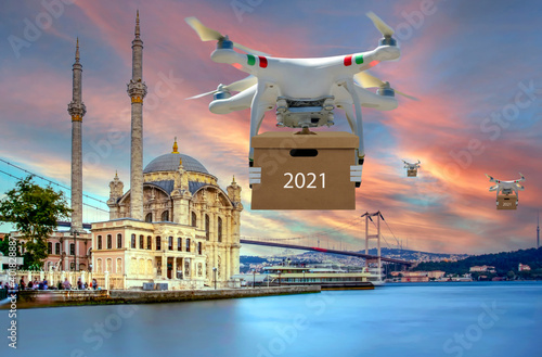 Canvas Technological shipment innovation - drone fast delivery concept