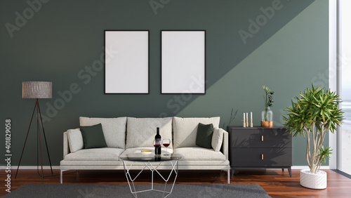 Fototapeta Luxury living room in a loft style appartement with sofa, coffee table, sideboard, carpet, aloe vera plant. Large room-high windows to a beach and ocean. Mockup picture frames on the wall. obraz
