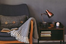 Hygge Style Interior, Cozy Home With Cup Of Tea And Candles