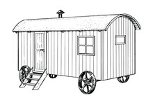 Drawing Of Shepherds Hut - Hand Sketch Of Living Car