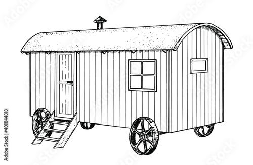 Fotografia Drawing of shepherds hut - hand sketch of living car