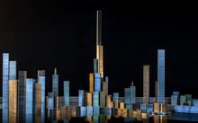Panorama De Bâtiments Et Paysage Urbain Sur Fond Noir En Agrafes Et Vis En Métal Avec éclairage De Nuit Et Reflets. Projet D'architecture, Construction, Développement, Concept Urbain, Immobilier.