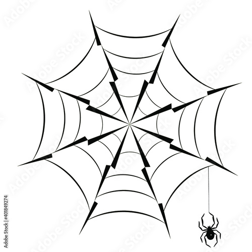 Fotografija Spider hanging on spider web silhouette icon eps10 vector illustration