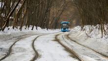 Blue Tram In The Sokolniki Winter Park In Moscow