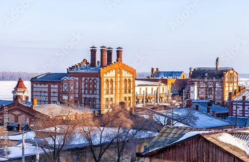 Canvas Print Zhiguli Brewery in winter day in Samara, Russia