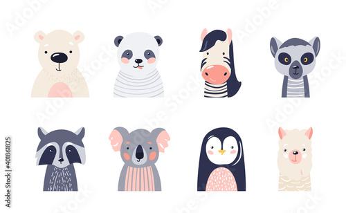 Fototapeta premium Cute animal baby faces set vector illustration. Hand drawn nursery characters collection with polar bear, panda, zebra, raccoon, lemur, koala, penguin, lama. Nordic scandinavian funny kid design