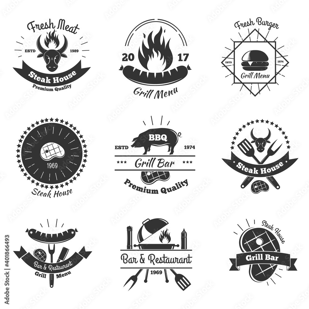 Fototapeta Steakhouse Vintage Emblems Set