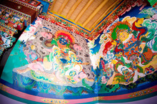 Buddhist Temple, Buddhist Stupa, Buddhist Frescoes And Icons, Painting On The Walls, Buddhist Thangkas, Tibetan Buddhism, Ladakh, Zanskar, Tibet And The Tibetan Plateau