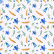 Seamless pattern with meadow flowers. Watercolor hand painted harebell flowers and wheat.