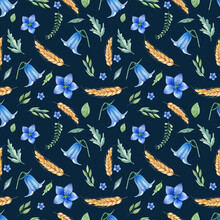 Seamless Pattern With Bluebell Flowers And Wheat Hand Drawn In Vintage Style. Graphic Background For Wrapping Paper, Fabric, Decor For  Wedding. Floral Pattern.