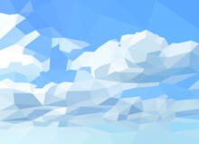 Polygonal Blue Sky And White Clouds