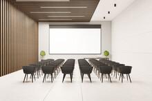 Presentation Auditorium With Empty White Screen