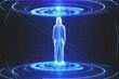 Leinwandbild Motiv Glowing hacker hologram standing in teleportation station.