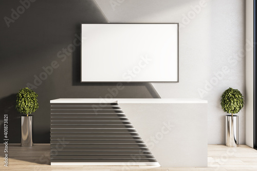 Bright office hall with reception desk and blank poster on wall. Fototapeta