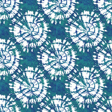 Teal Blue Tie Dye Dot Spiral Nautical Texture Background. Summer Coastal Living Style Home Decor Tile. Sea Green  Dyed Circle Grunge Material. Worn Turquoise Dyed Textile Seamless Pattern.