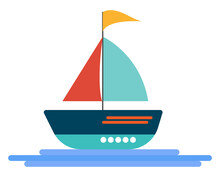 Sailing Boat, Illustration, Vector On A White Background.