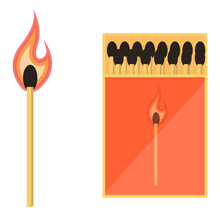 Fire Matches, Illustration, Vector On A White Background.