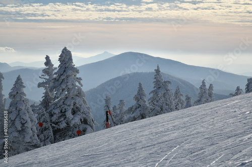 Panoramic view to the ski slopes with fresh snow from the Octagon cafe observati Wallpaper Mural