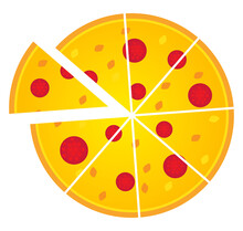 Slices Of Peperoni Pizza, Illustration, Vector On A White Background.
