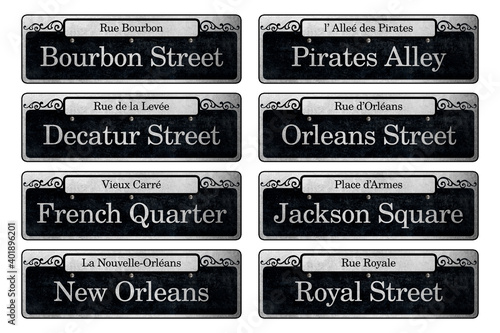 Fotografia New Orleans French Quarter Downtown City Neighborhood Street Signs Historic Icon