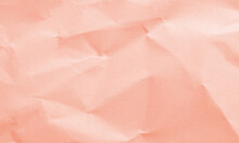 Tropical Pink Colored Crumpled Paper Texture Background For Design, Decorative.