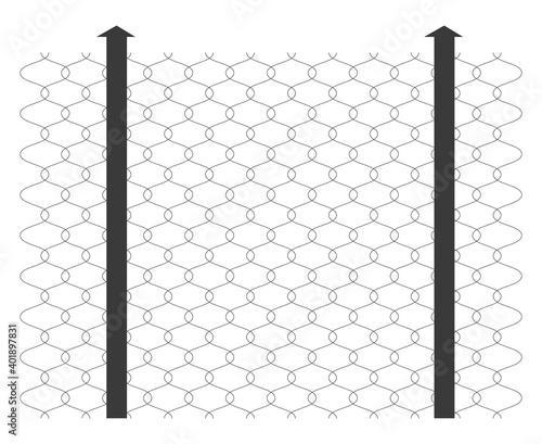 Wire feences, illustration, vector on a white background.