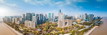 Aerial Photography Of The Skyline Of Modern Urban Architectural Landscape In Hangzhou, China..