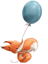 Cute Little Cartoon Fox Squirrel With Balloon
