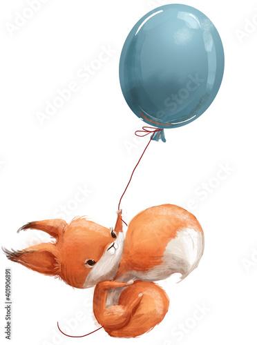 Fototapeta premium cute little cartoon fox squirrel with balloon