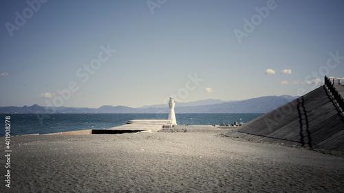 白い灯台 海景 Fotobehang