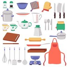 Big Set Of Kitchen Utensils And Supplies Cartoon Vector Illustration Isolated.