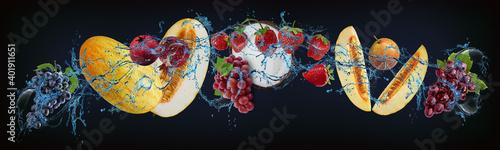 Panorama with fruits in water - juicy grapes, melon, pomegranate, strawberries, Tapéta, Fotótapéta