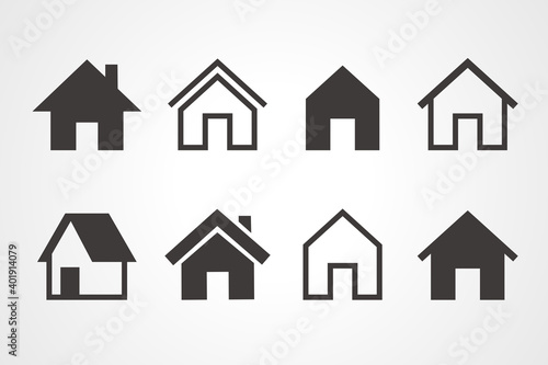 Leinwand Poster House icons, Home page button, House symbol, Vector illustration.