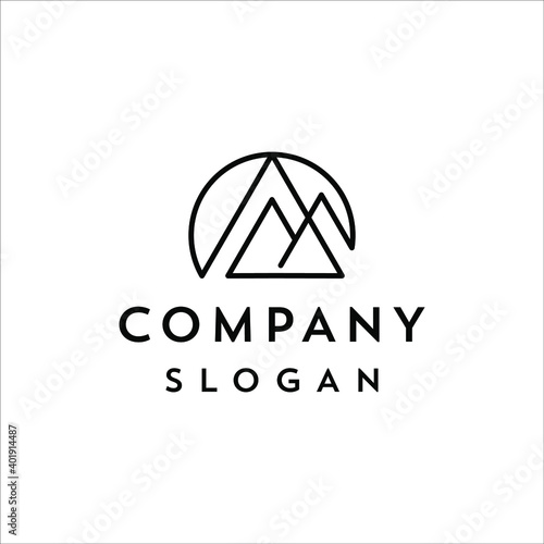 Fotografía Mountain and sun in a minimalist line design style