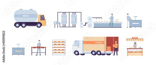 Obraz Cheese production process on factory a vector illustrations. - fototapety do salonu