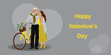 A Couple Stand Next To A Bicycle In A Vintage Force For Valentine's Day. Vector Illustration. A Girl In Yellow Clothes And A Man In Gray, A Yellow Bicycle With A Basket Of Flowers.