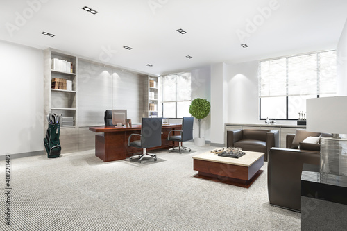 Obraz 3d rendering luxury business meeting and working room in executive office - fototapety do salonu