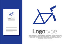 Blue Bicycle Frame Icon Isolated On White Background. Logo Design Template Element. Vector.