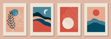 Set Of Vertical Abstract Backgrounds Or Card Templates In Modern Colors, Vector Illustration In Popular Art Style