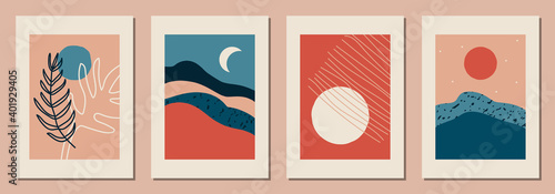 Photo Set of vertical abstract backgrounds or card templates in modern colors, vector