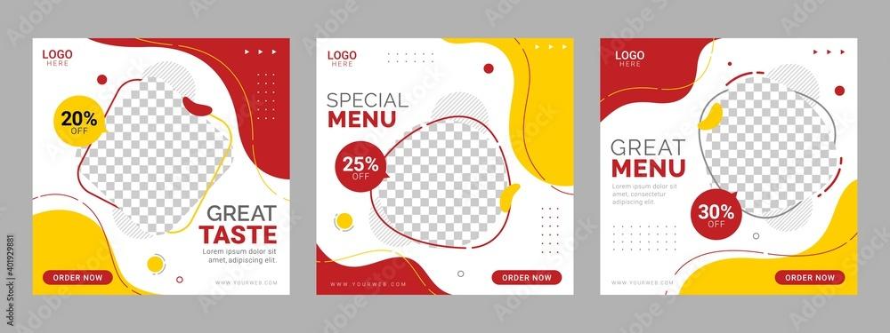 Fototapeta Social media food template, Restaurant social media square banner template for business promotion