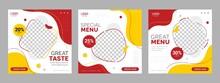 Social Media Food Template, Restaurant Social Media Square Banner Template For Business Promotion