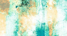 Grungy Art Texture, Liquid Paint Strokes On Canvas. Oil, Acrylic  Painting. Abstract Grunge Background, Hand Drawn Pattern With Green, Orange And White Colors